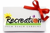 "Gift card with a red ribbon and ""Recreation, Palm Beach Gardens"""