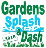 Gardens Splash and Dash 2016 logo with water and grass