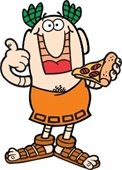 Little Caesar's cartoon character holding a slice of pizza