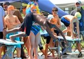 A boy with a Makos swim camp on diving into a pool in a swim meet