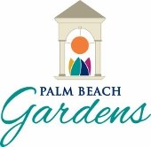 Palm Beach Gardens logo with tower and artwork