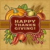 """""""Happy Thanksgiving!"""" clip art with fall vegetables in the background"""