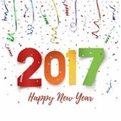 2017 Happy New Year with streamers and confetti