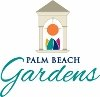 City of Palm Beach Gardens  logo with a tower and artwork