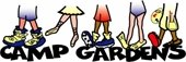 Camp Gardens logo with feet in different types of shoes