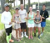 A group of men and women holding tennis trophies.