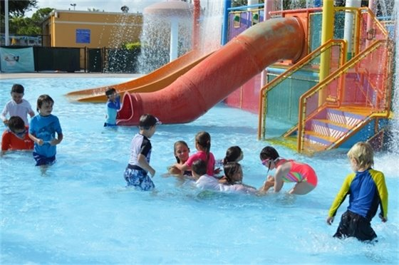 Children playing in the Splash Play Area during Splash Camp