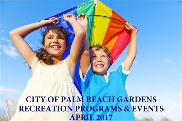 "A girl and boy holding a kite ""City of Palm Beach Gardens Recreation Programs and Events April 2017"""
