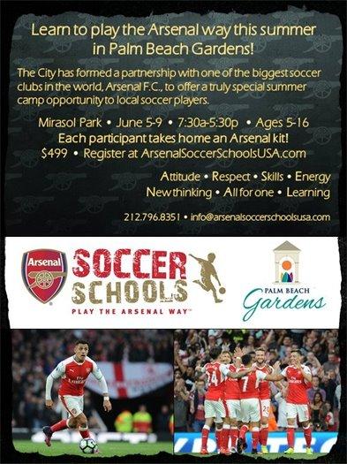 Arsenal Soccer Camp flier