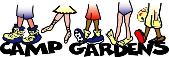 Camp Gardens logo with kids' feet in different types of shoes.