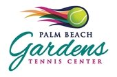 Palm Beach Gardens Tennis logo with a ball in colorful flames