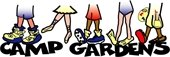 Camp Gardens logo with 5 sets of feet wearing different types of shoes